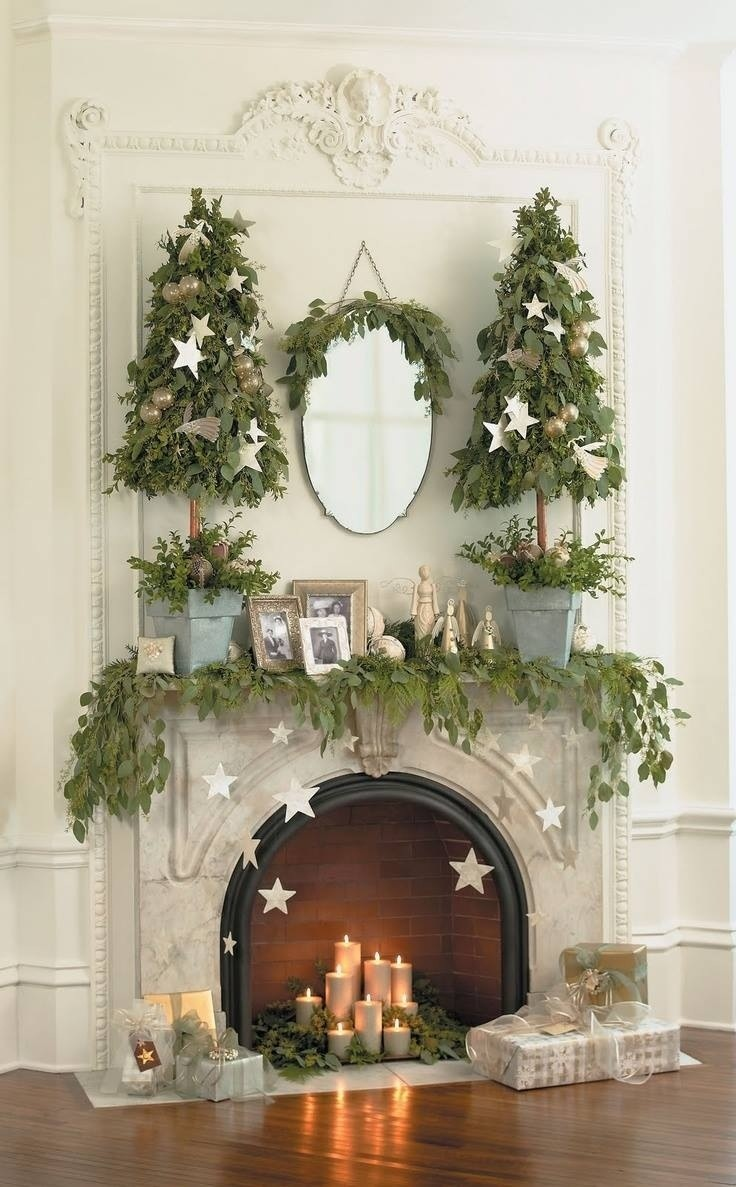 Christmas Spirit- Mantel Decoration- Classic white and green
