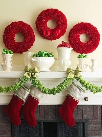 Christmas Magic- Stockings piled high- Mantel decorations