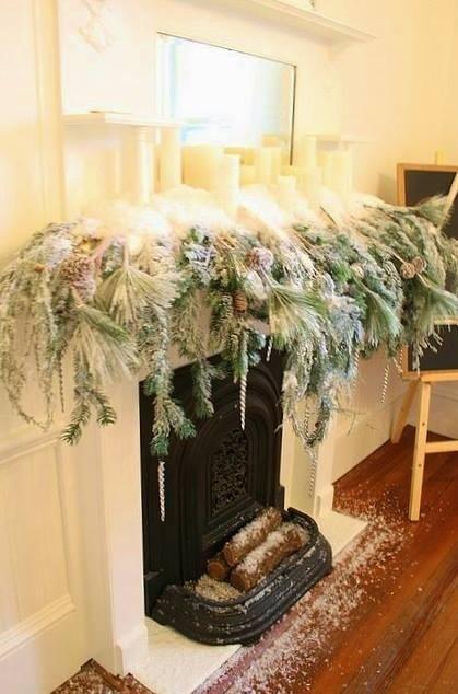 Christmas Magic- Snowy Mantel- White Christmas Decor