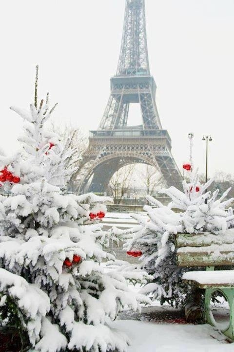 Christmas Magic- Eiffel Tower Snowy White and Red