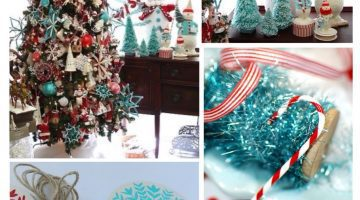 Christmas Decorations - Red and Aqua Blue - Turquoise Holiday Decor via Misty Nelson @frostedevents Home Decor and DIY blog