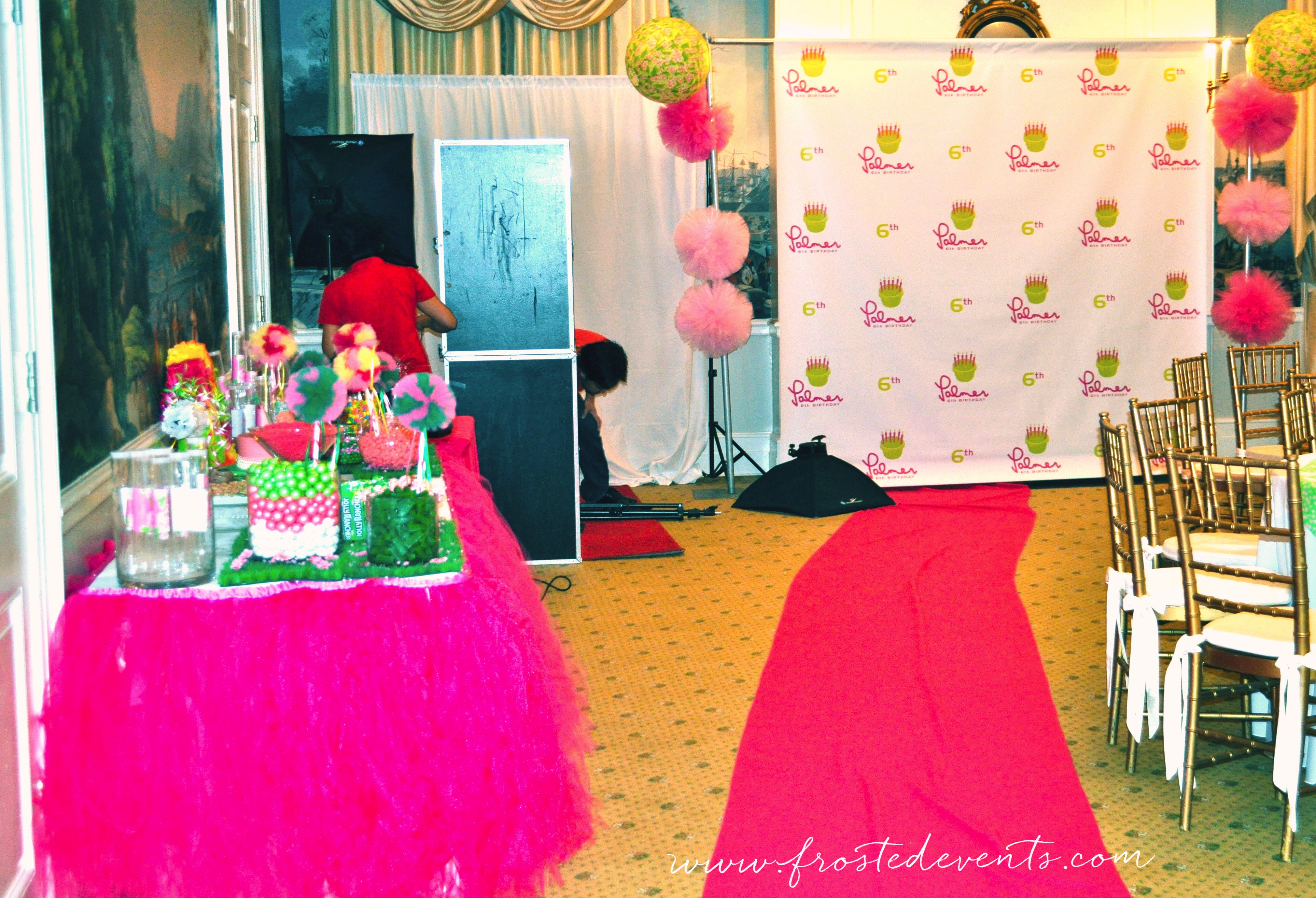Pink Carpet and Backdrop- Lilly Pulitzer Theme Birthday Party by Frosted Events www.frostedevents.com