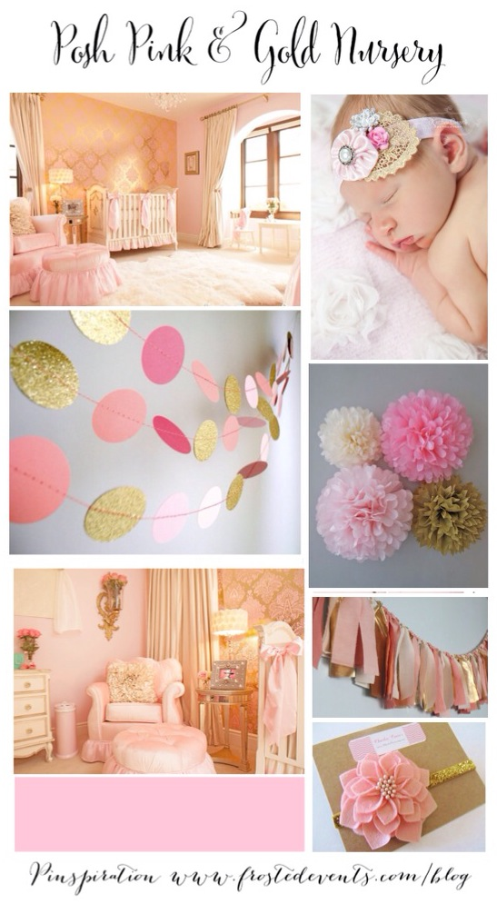 Pink and Gold Nursery Ideas & Inspiration www.frostedevents.com Baby