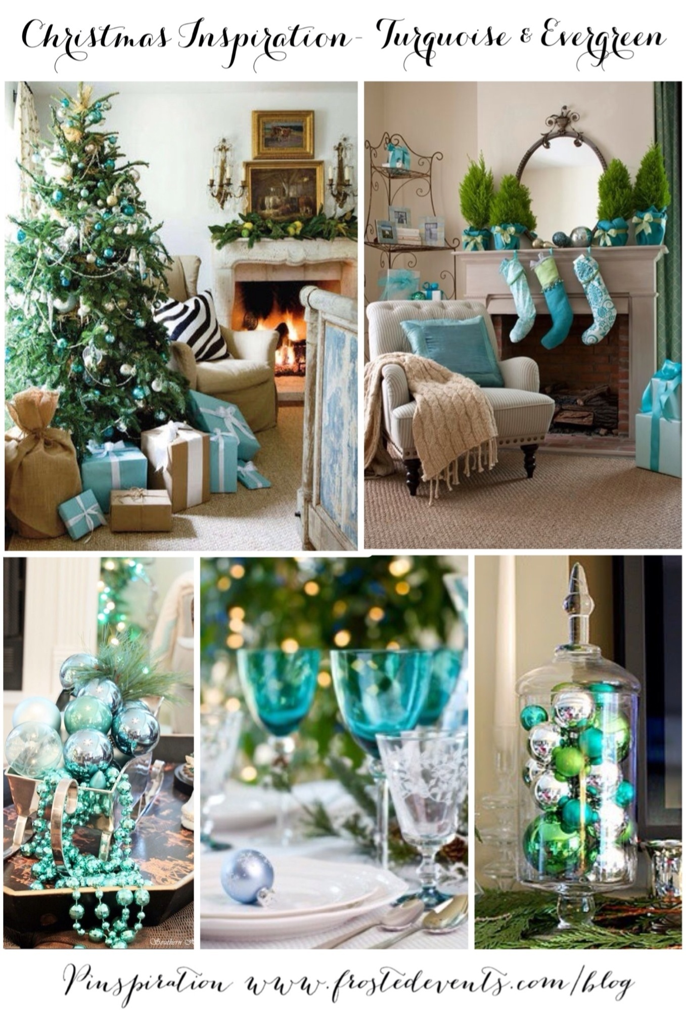 Christmas Inspiration- Turquoise and Evergreen www.frostedevents.com