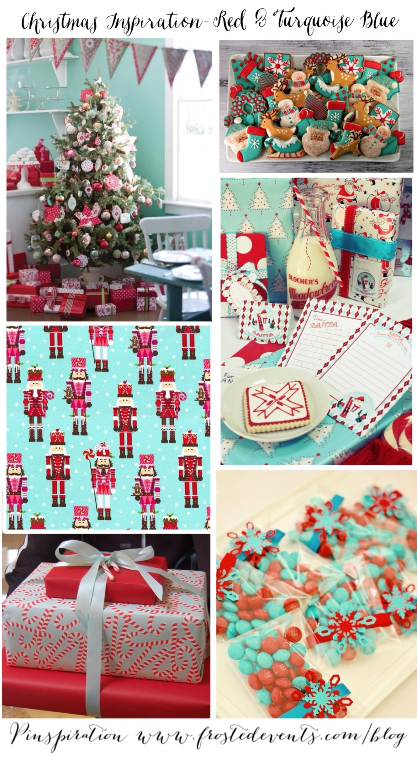 Christmas Inspiration- Red & Turquoise Blue www.frostedevents.com Holiday Ideas