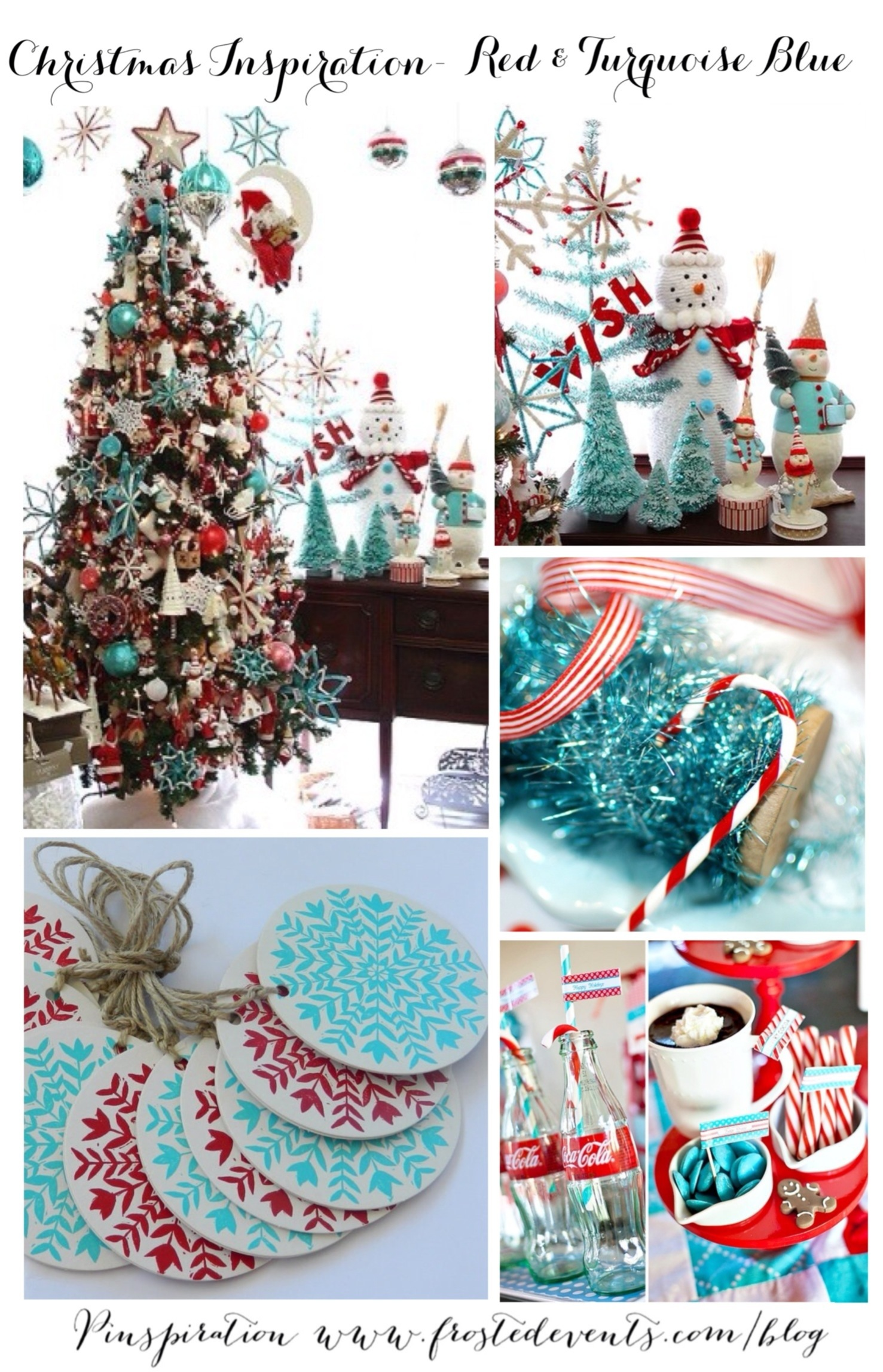 Christmas Decorations for the Home - Red and Aqua Blue - Turquoise Holiday Decor via Misty Nelson @frostedevents Home Decor and DIY blog