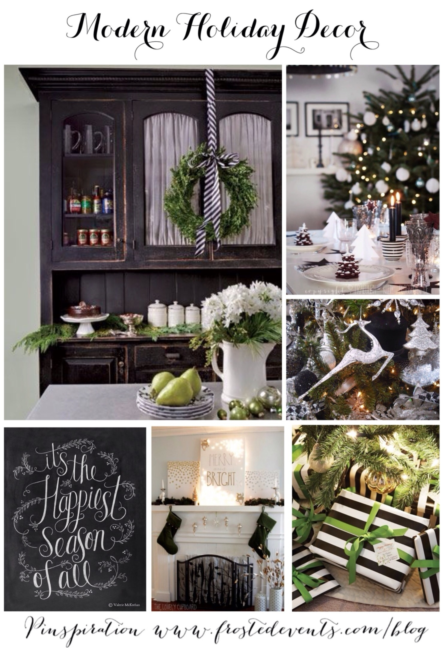 Christmas Decoration Ideas -Merry Christmas Pictures - Green, black and white holiday decor via Misty Nelson @frostedevents