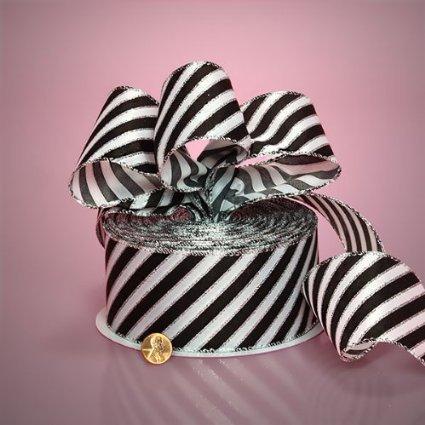 Black Diagonal Stripe Ribbon