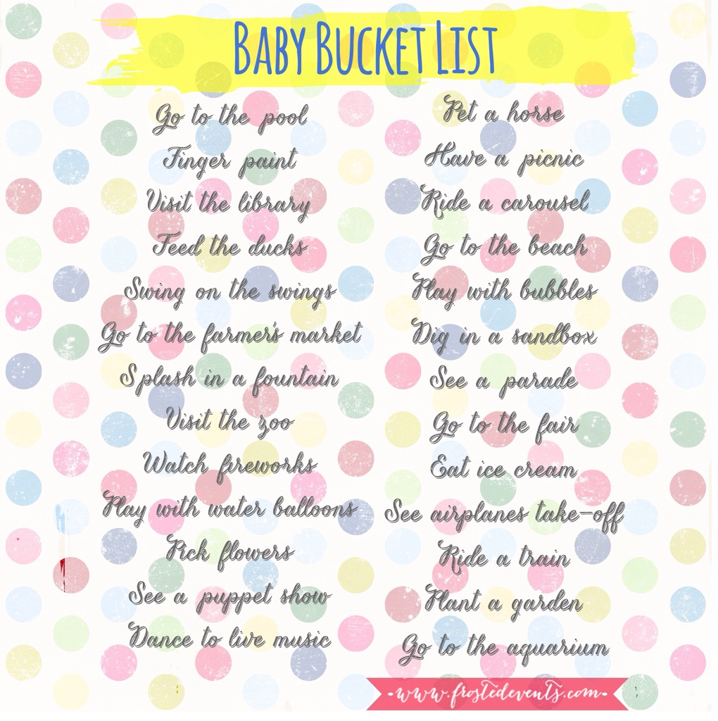 Baby activities -Baby Bucket List- Fun Things to Do with your Baby this Summer