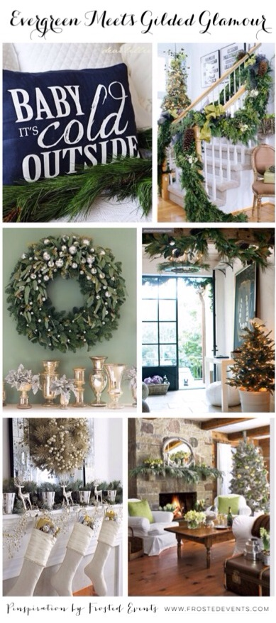 Evergreen Meets Gilded Glamour Christmas Holiday Ideas and Inspiration wwwfrostedeventscom