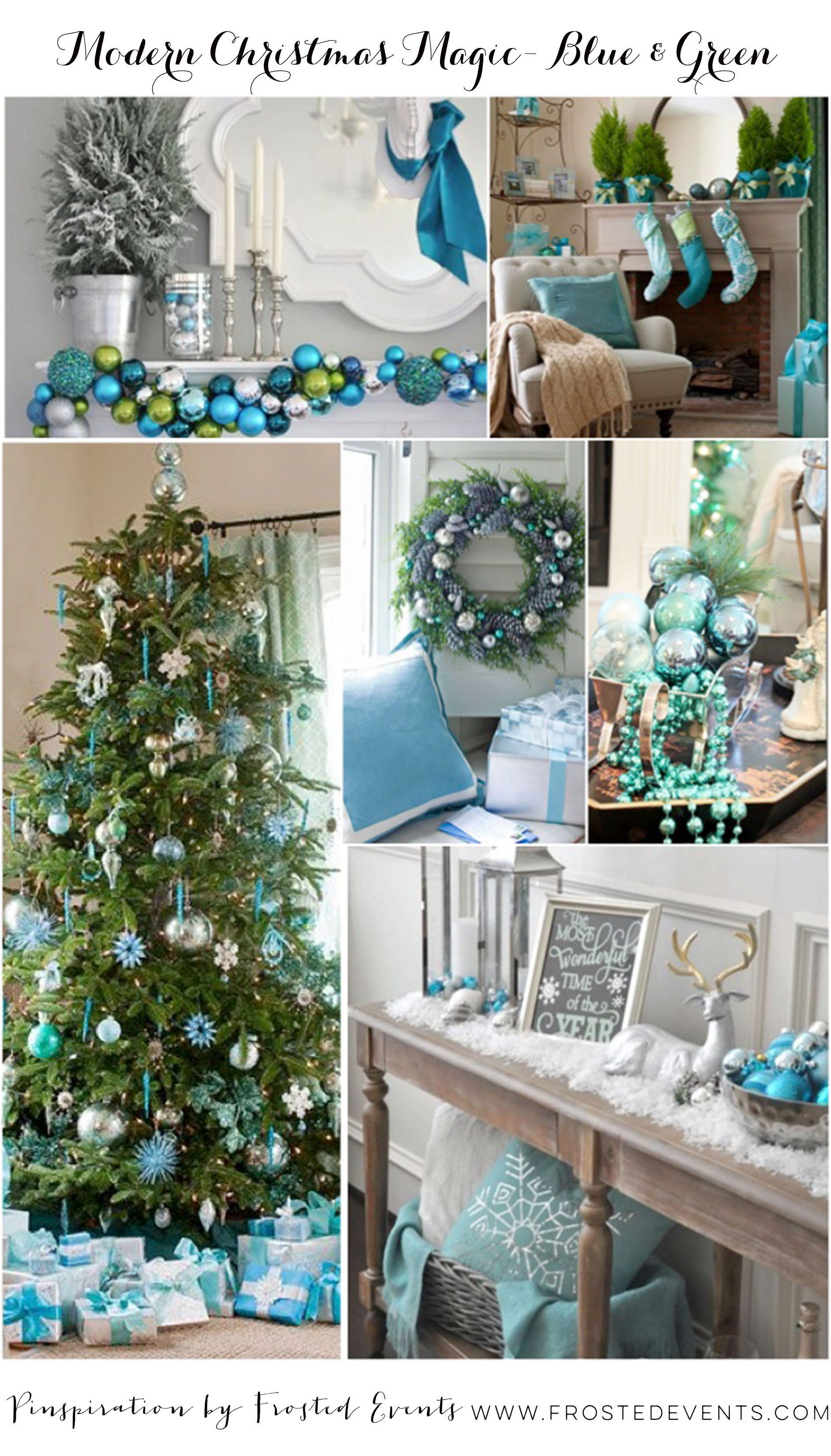 Modern Christmas in Blue Green www.frostedevents.com