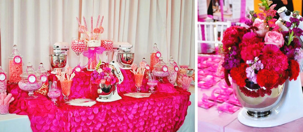 Pink Dessert Table Candy Bar La Vie en Rose Breast Cancer Luncheon Sponsored by KitchenAid| Frosted Events  frostedevents.com