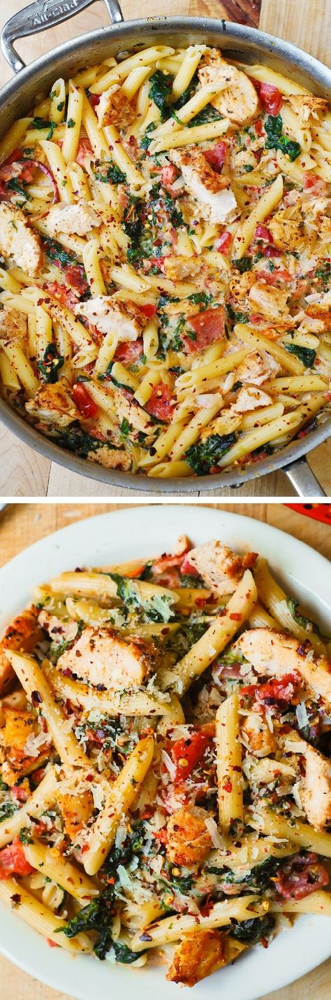 Pinterest Recipes- Weekly Meal Plan, Chicken Bacon Pasta With Spinach frostedeventscom