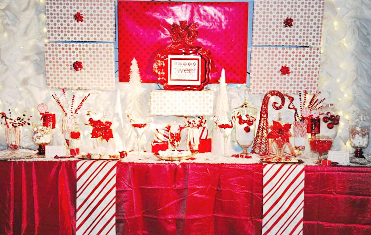 Christmas Dessert Table Candy Buffet via frostedevents #desserttable #candybuffet