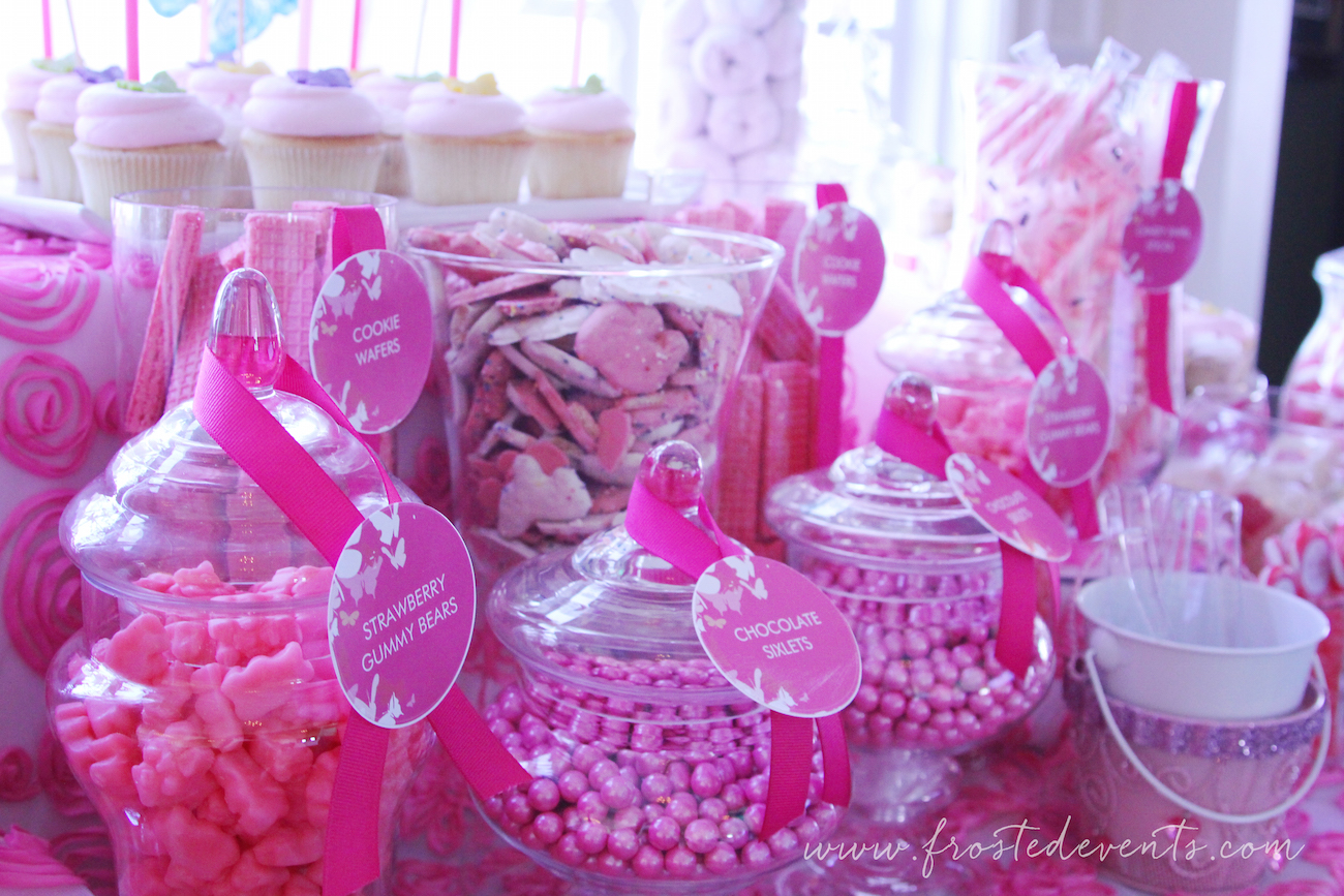 Pink Dessert Table Candy Buffet Wedding Ideas and Inspiration  via  frostedevents #desserttable #candytable #pinkwedding