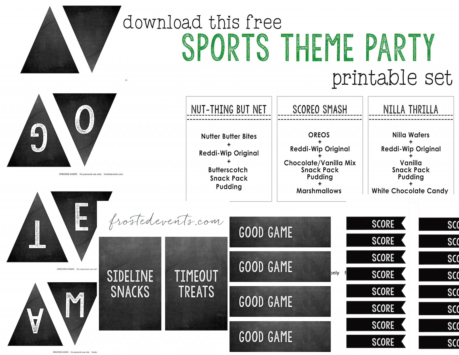 Easy Party Food Ideas- Sports Team Snack Table Free Sports Theme Party Printables