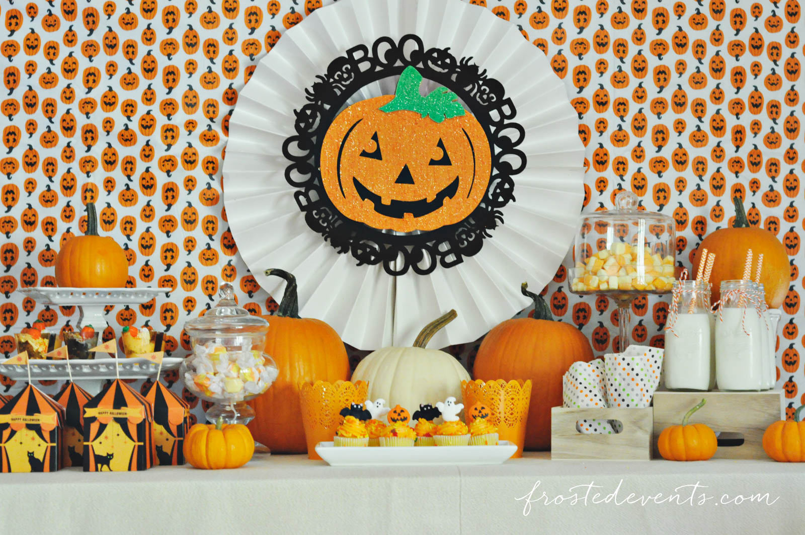 Halloween Party for Kids - Pumpkin Party ideas, halloween party treats, halloween desserts and more fun Halloween ideas via mom blogger Misty Nelson @frostedevents Halloween dessert table Pumpkin theme orange
