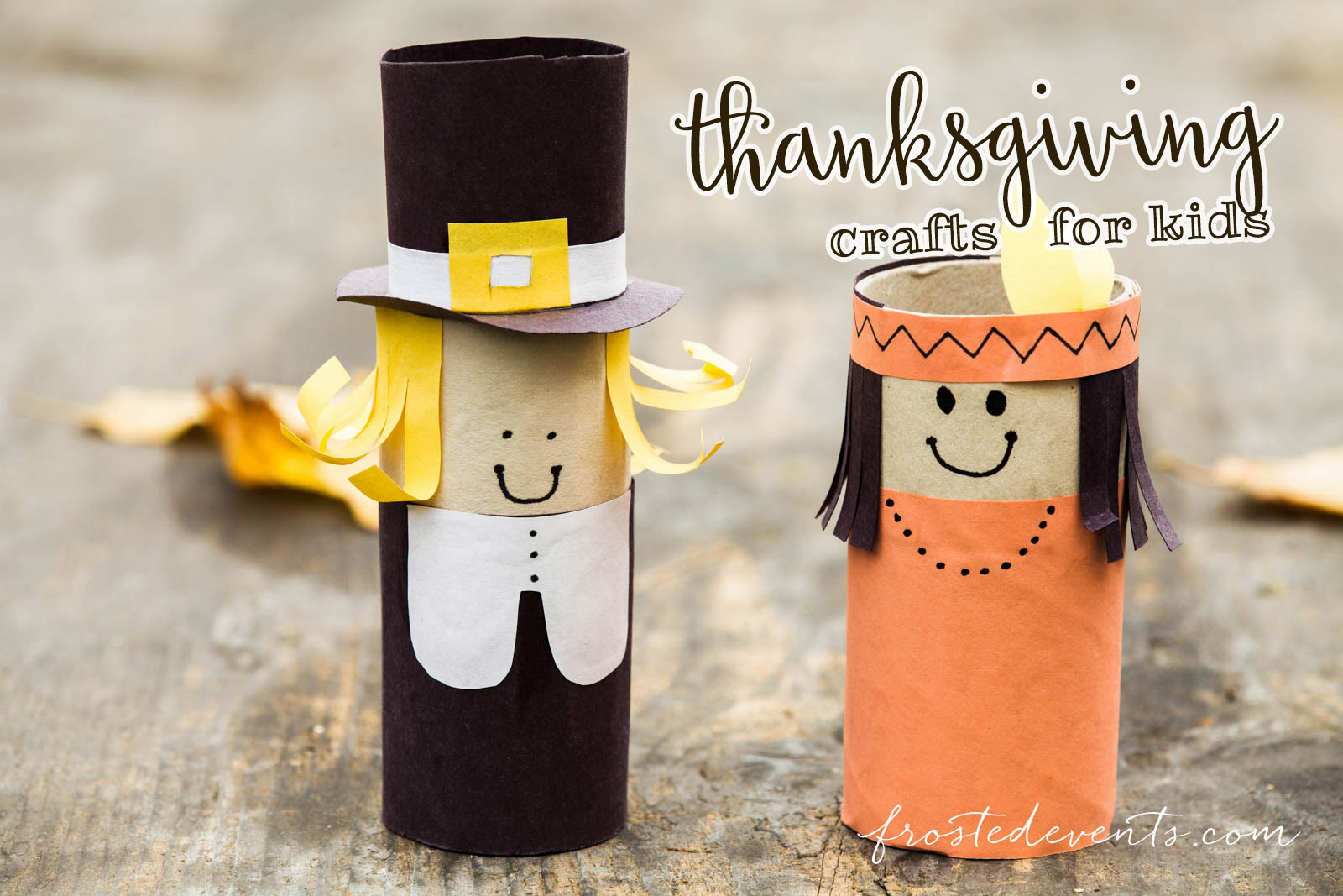 Thanksgiving Kids Crafts - Pilgrim and Indian DIY decorations frostedevents.com
