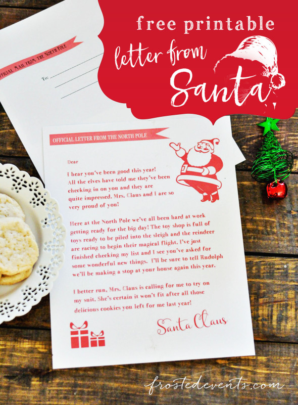 Free Printable Letter from Santa Editable Santa Letters frostedevents.com