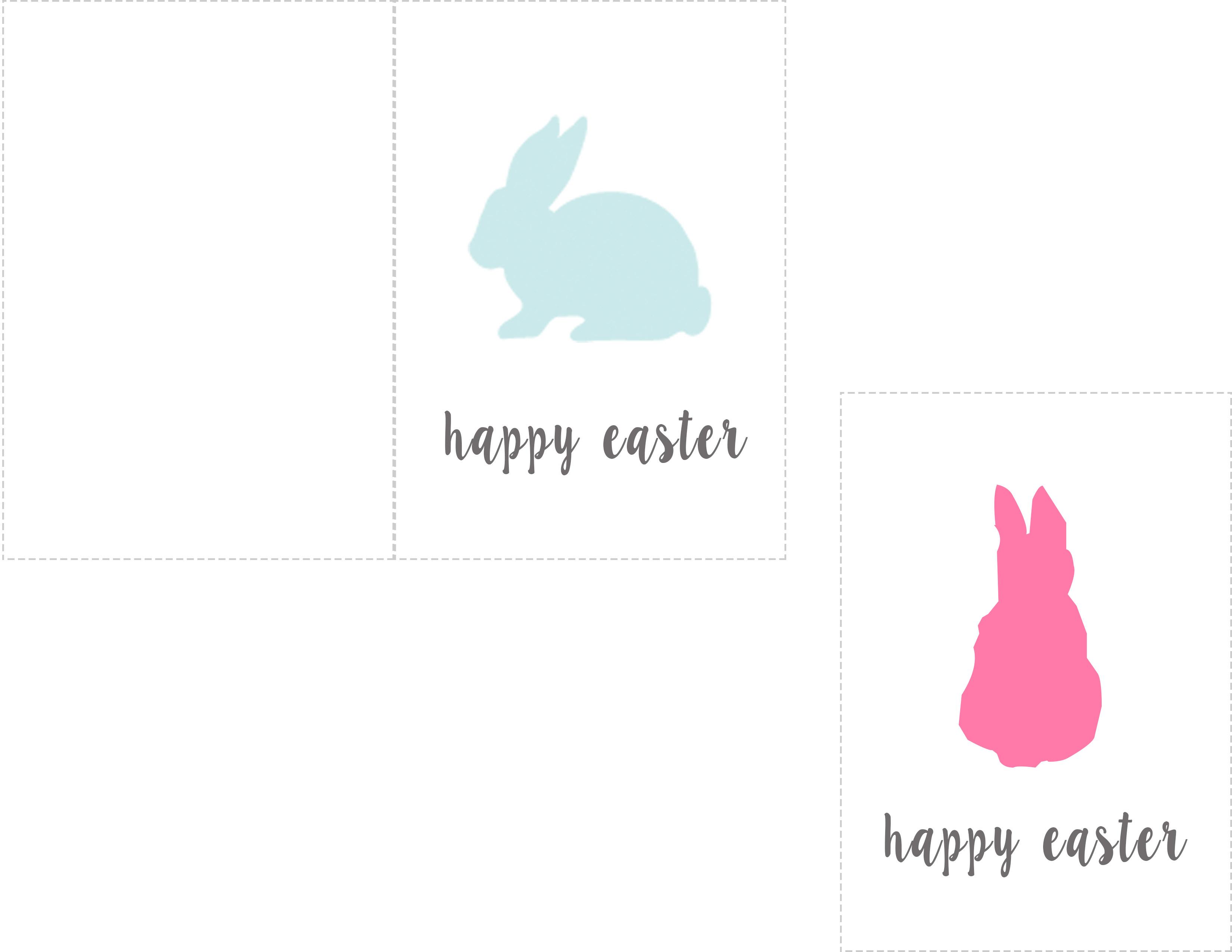 Happy Easter Printable Card Bunny Rabbit Tag