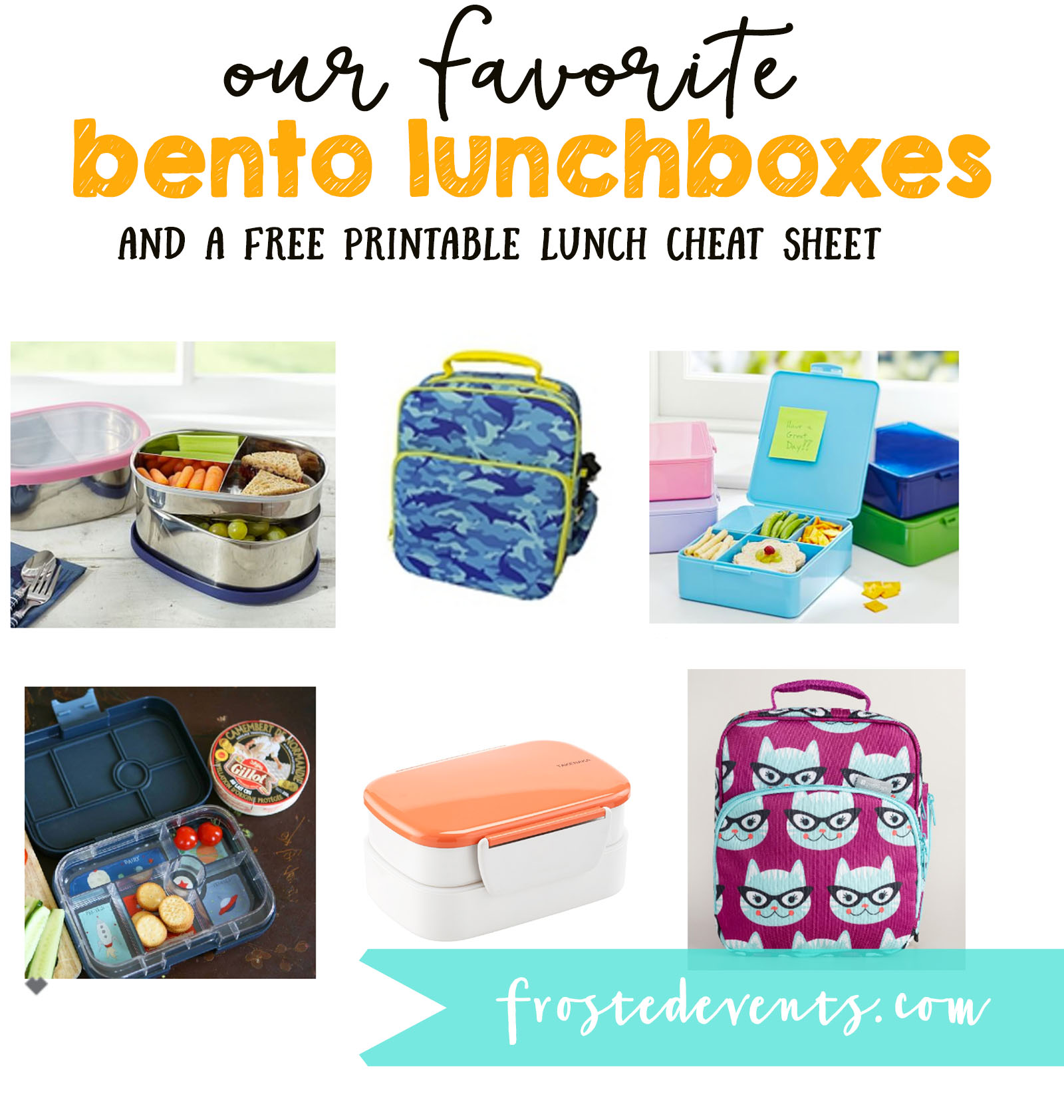 Bento Lunch Box-- Lunch Ideas Kids Lunch Printable