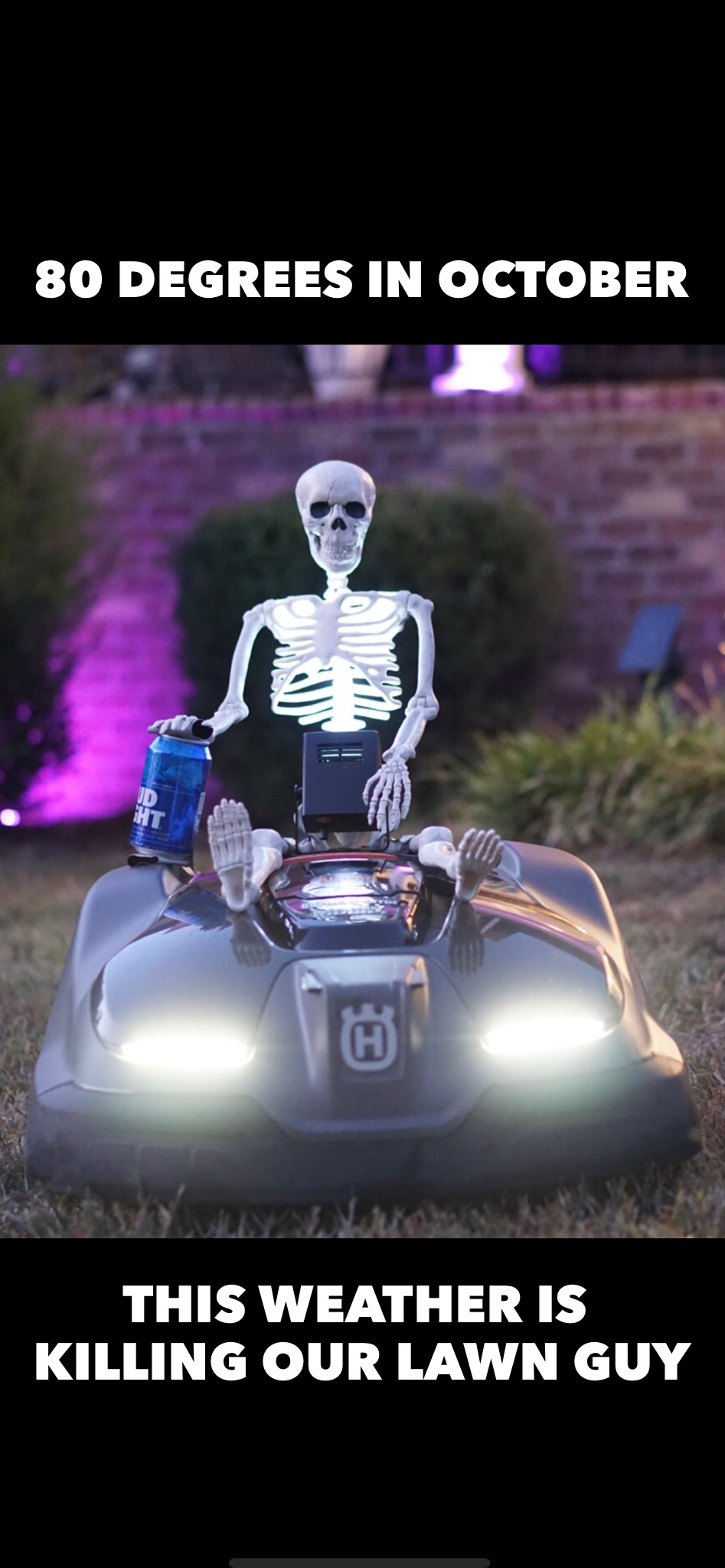 Halloween Memes - Skeleton Riding Robot Lawnmower -Husqvarna Automower blogger Misty Nelson @frostedevents