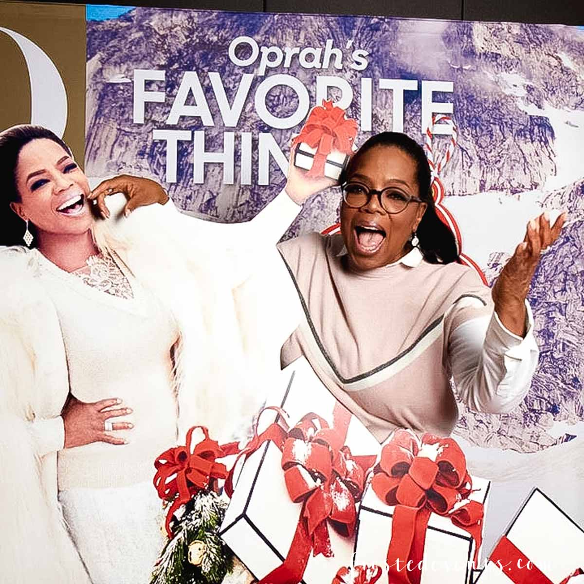 Oprah's Favorite Things 2017 party was last Thursday and I had the unbelievable opportunity to attend and reveal a very exciting secret I've been dying to share. Here's a look at what it's like to be a guest at the best holiday party ever!....  As an OMagazine Insider I get invited to participate in some pretty cool experiences. But never in my wildest dreams did I imagine that I would be invited to Oprah's Favorite Things party! Ya'll, I'm still completely in shock and covered in bruises from pinching myself about a million times. Oh, how I wish you could have seen the happy dance that I did when I opened the email invitation. It would be a viral video for sure. Something comparable to lottery ticket winners or Justin Beiber fans who find out they're going to get to meet the Biebs backstage. There was screaming, lots of screaming... and even tears of joy. Maybe wails of joy, sobs. Ok, I was a sobbing, wailing, ecstatic hot mess. It was truly that exciting! Here we are in the elevator on our way up to the party. I adore my  OMag Insiders tribe! It's such a wonderful group of inspiring ladies from all walks of life. They are creative, brilliant, funny, strong and successful as hell. But what really makes them special is the love and support they so generously share with each other. I'm so blessed to be a part of this family! My heart was racing as we made our way into the room. You could feel the buzz of excitement walking in, a mix of media and marketers, executives and a few celebrities too! Our fabulous elf Cara guided us to our table by the stage before giving us a mini tour of the party. A cocktail bar featuring Oprah's favorite tequila, Casa Dragones was serving up drinks at the back. Guests were taking pics with the life-size replica of the December O Magazine photo stand-in. I grabbed a cocktail, some nibbles from the delicious food spread and a cupcake (or two!) and mingled a bit before the show began. Gayle King and Adam Glassman were our hosts for the evening, taking the stage to reveal the list of holiday gifts Oprah hand selected for this years list. They uncovered the first box and explained why Oprah chose this gift and how she goes about choosing all the gifts. And then Adam said the magic words....