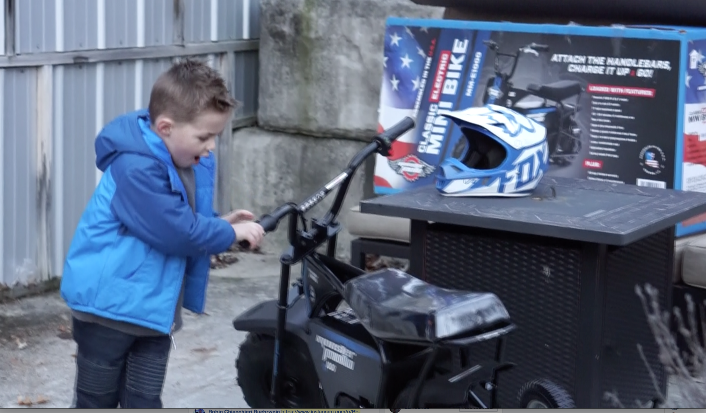 Mini Bike by Monster Moto - E1000 Electric Mini Bike unboxing surprise gift for boy's birthday via Misty Nelson frostedblog blogger & influencer @frostedevents kids toy reviews