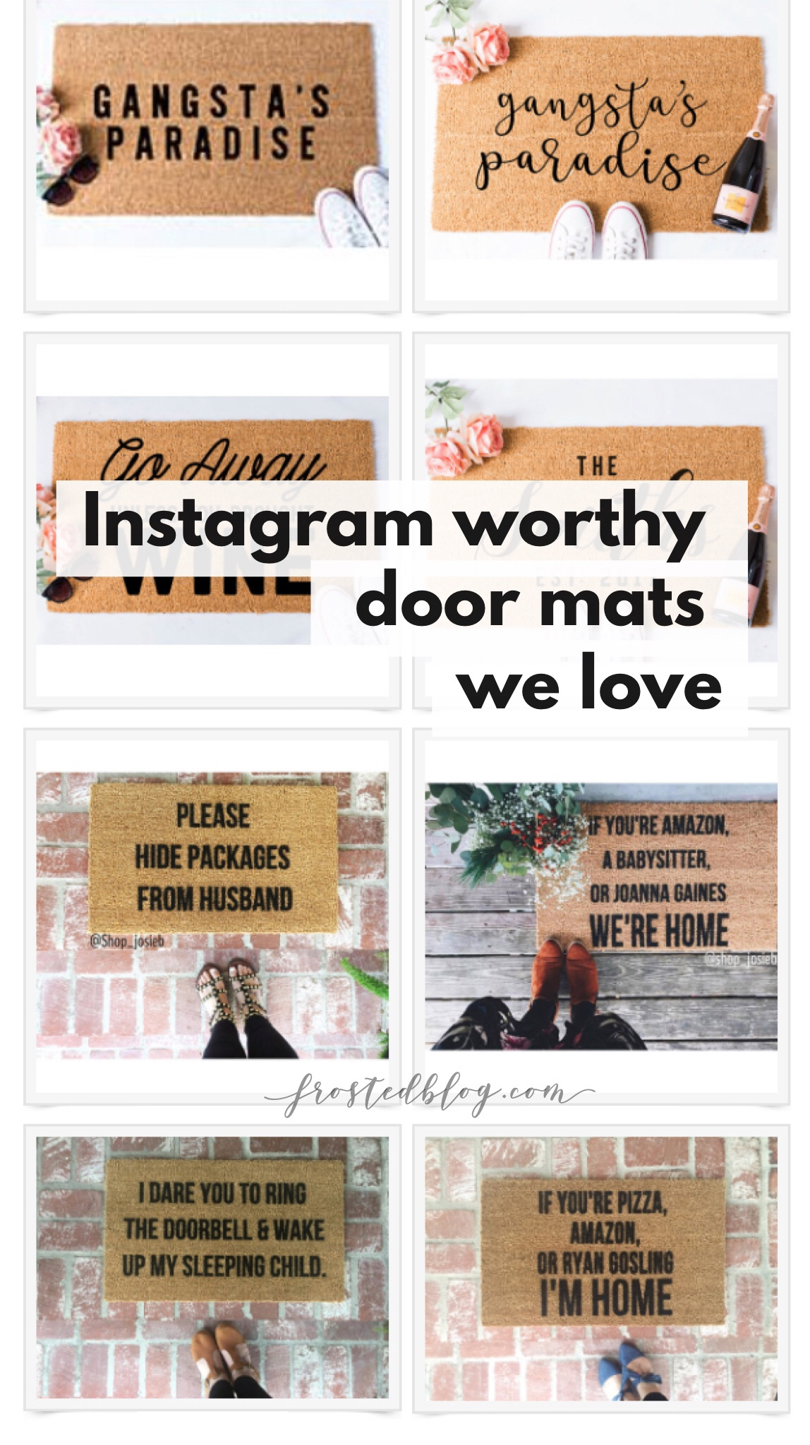 Home decor - funny custom door mats and welcome mats Instagram via misty Nelson, Frostedblog