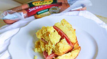 Corn Pudding Casserole Recipe -Comfort Foods - Eckrich Sausage dinner recipes- casserole recipes frostedevents.com