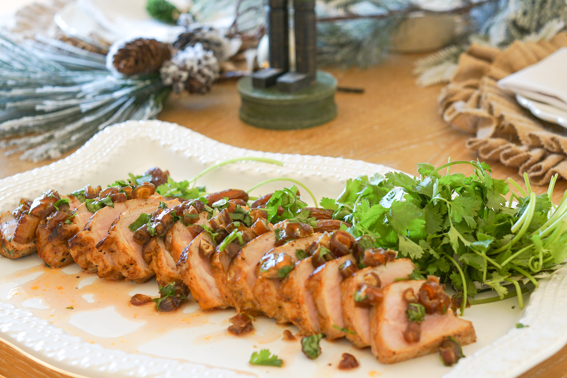 Holiday Pork Loin Filet with Cilantro & Date Relish