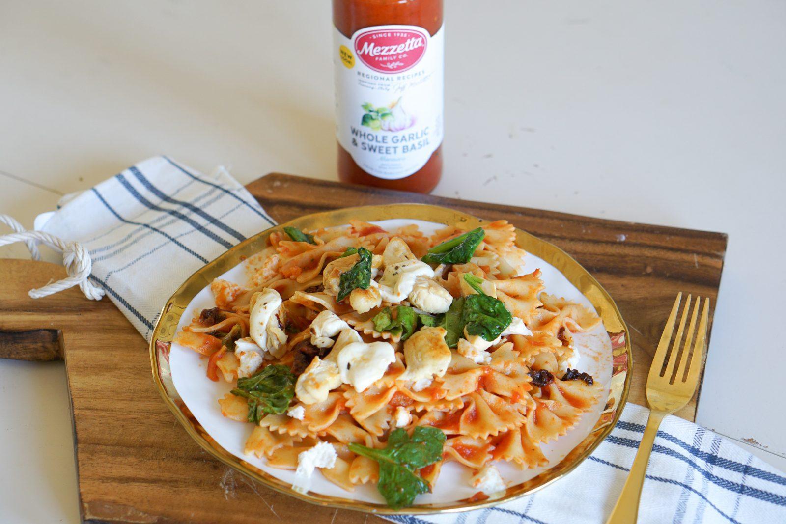 Sun-dried Tomato & Spinach Pasta with Mozzarella Recipe - Pasta Dishes and Dinner Ideas