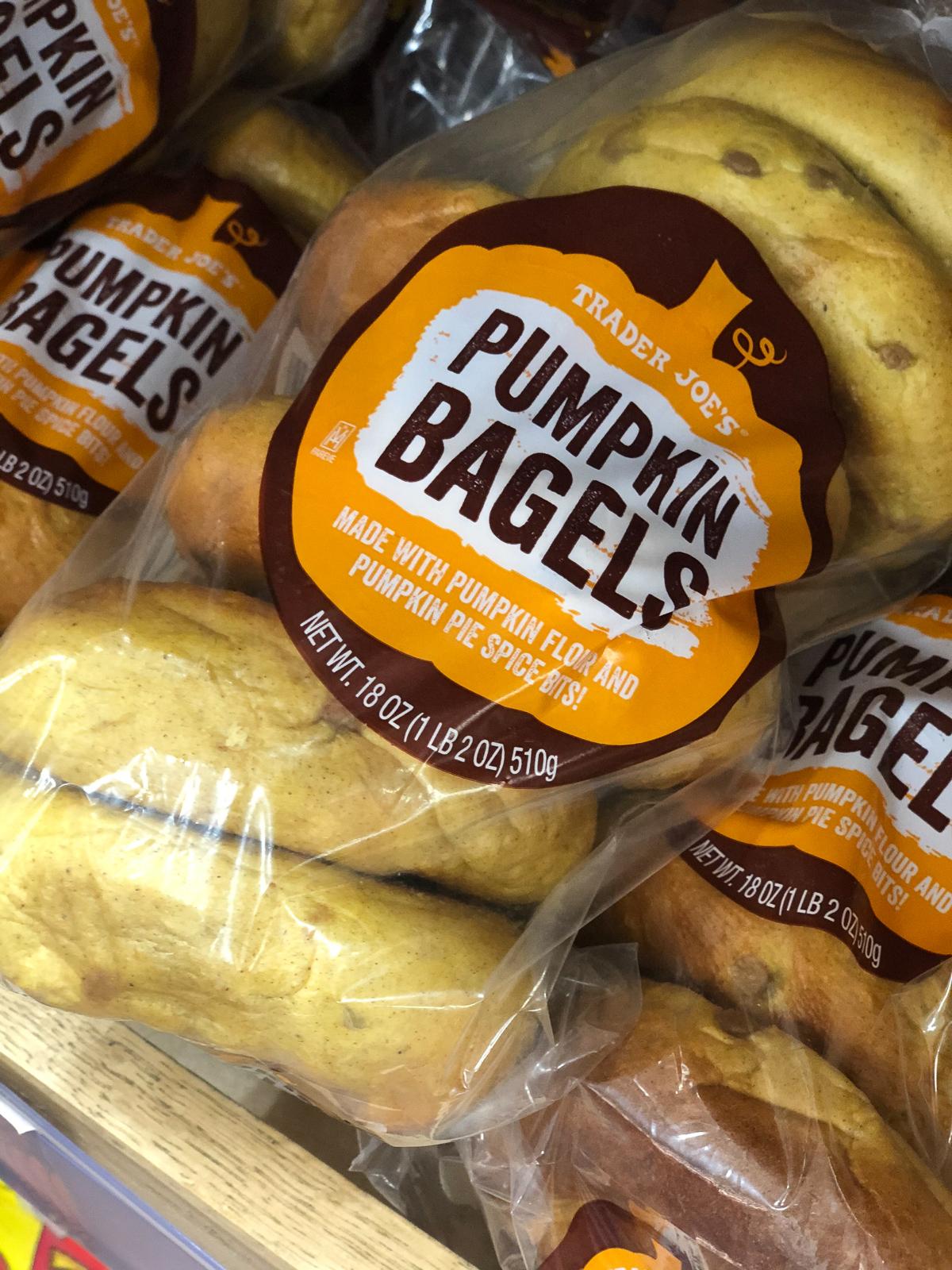 50+ Trader Joe's Pumpkin Favorites and Fall Eats - Pumpkin Bagels