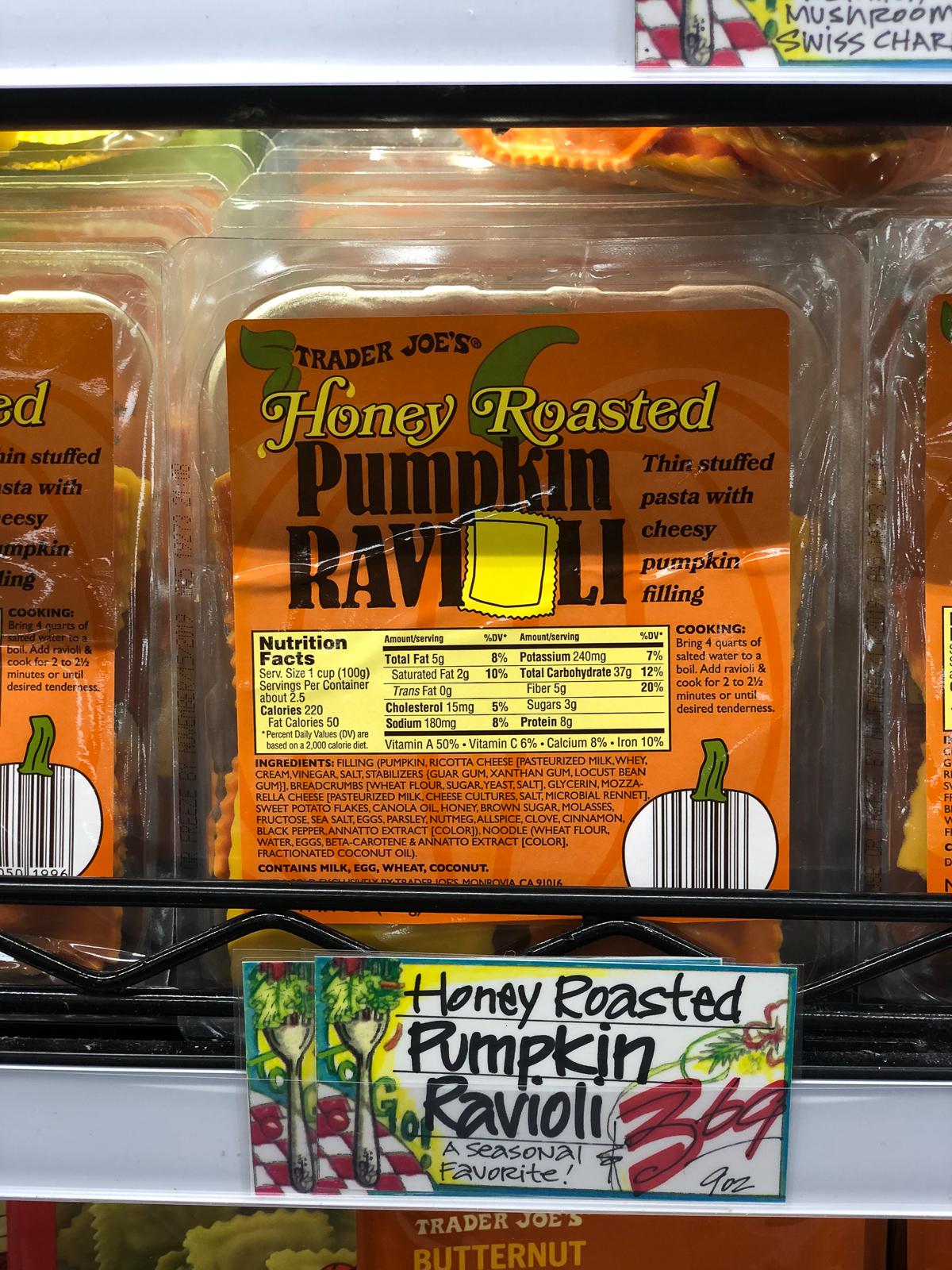 50+ Trader Joe's Pumpkin Favorites and Fall Eats - Pumpkin Ravioli