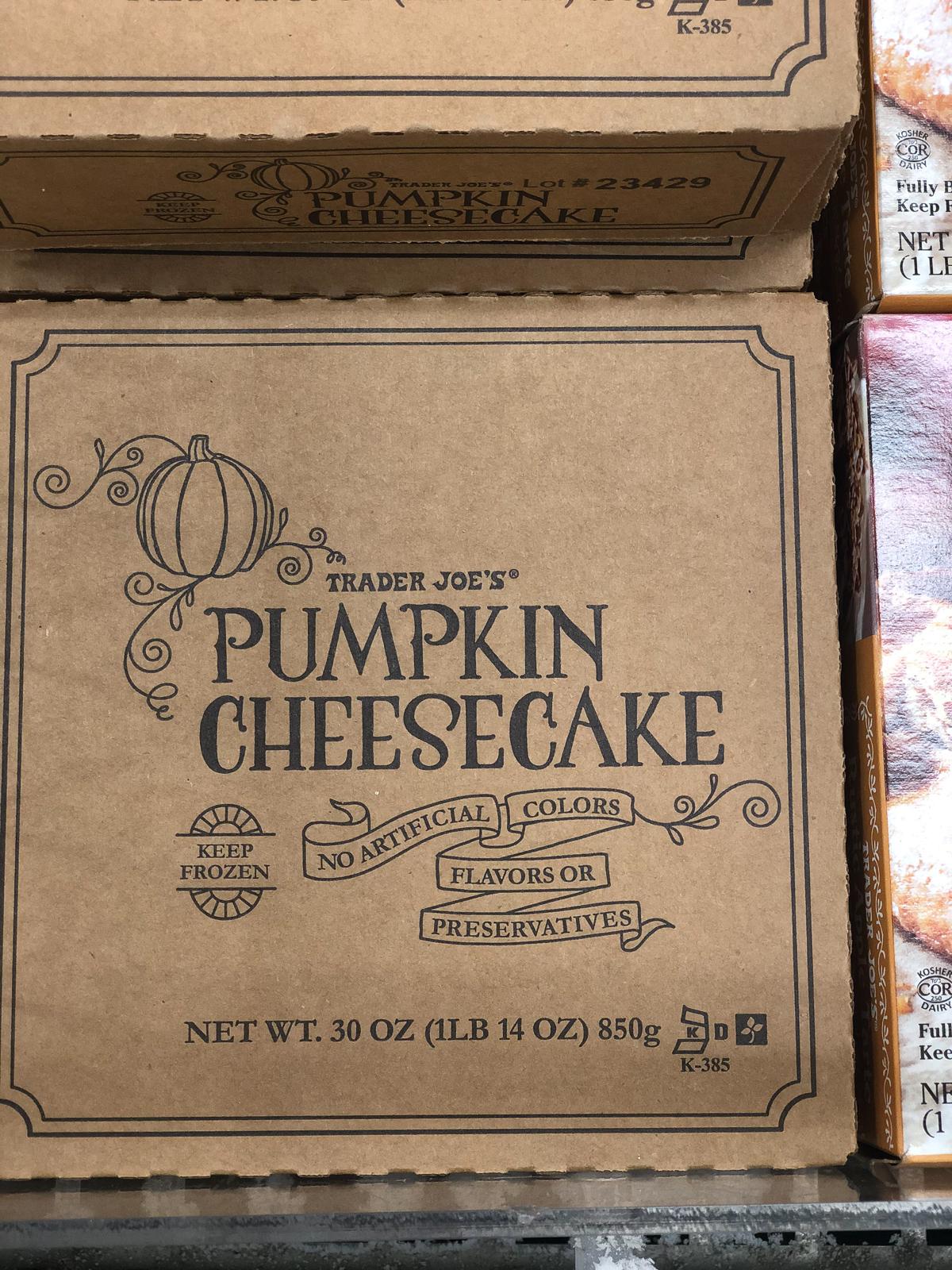 50+ Trader Joe's Pumpkin Favorites and Fall Eats - Pumpkin Cheesecake