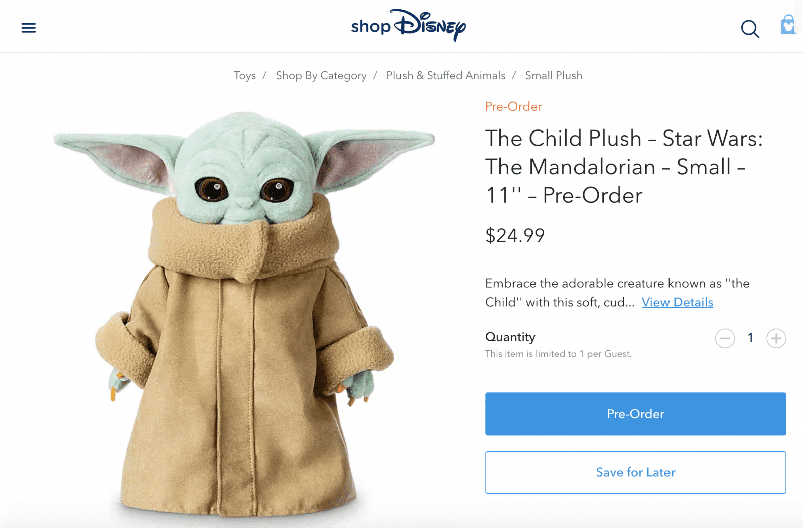 Baby Yoda Plush Doll from Disney, the Child. Mandalorian merchandise