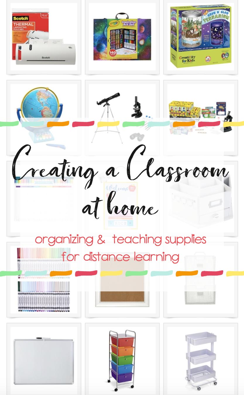 Home School Classroom supplies - Learn at home list of distance learning supplies for setting up a classroom at home