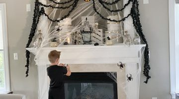 Party City Halloween Decorations - Halloween Decor Ideas via frostedevents - Halloween mantel
